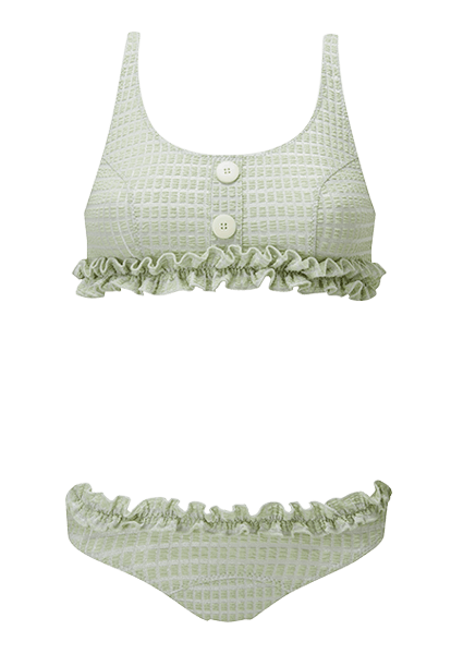 Colby Ruffle Mint Jacquard Bikini
