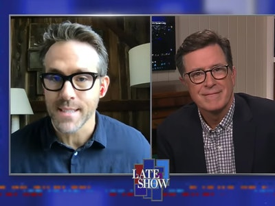 """In a video interview on """"The Late Show with Stephen Colbert,"""" actor Ryan Reynolds joked about social distancing with with three daughters."""