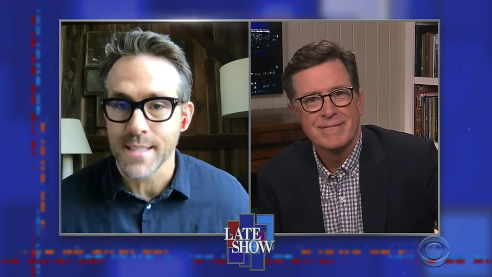 "In a video interview on ""The Late Show with Stephen Colbert,"" actor Ryan Reynolds joked about social distancing with with three daughters."