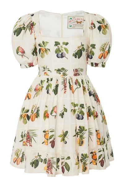 Agua by Agua Bendita Pomelo Frutas Printed Linen Mini Dress