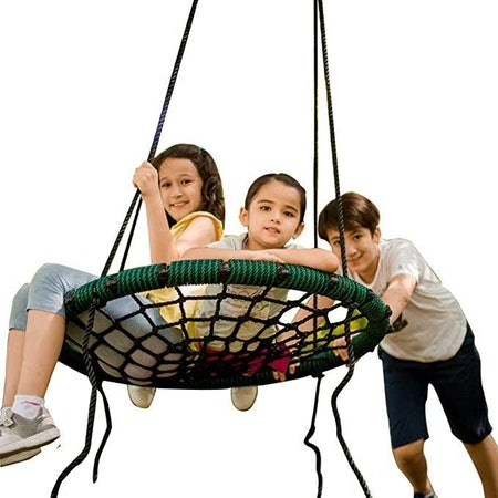 Spider Web Tree Swing Outdoor Round 71 inch Rope Max 600 Lbs Attaches to Trees Swing Sets Fun for Multiple Kids or Adult