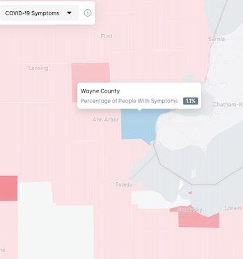 A close up on Michigan, a coronavirus hotspot, as seen on Facebook's map on April 20, 2020.