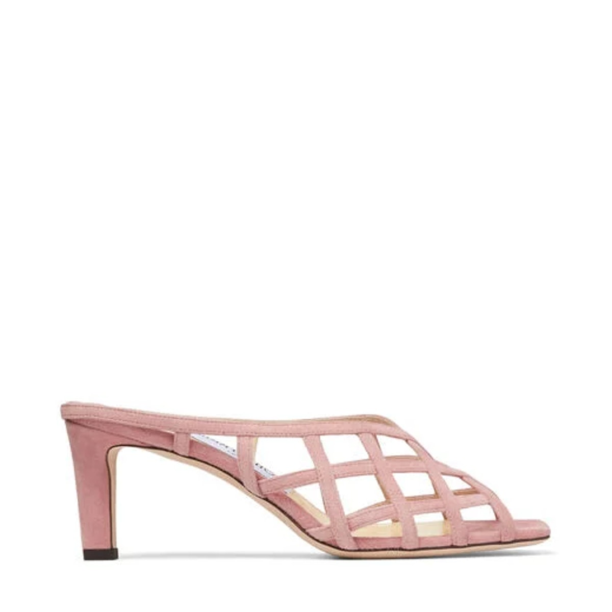 Blush Suede Caged Mules