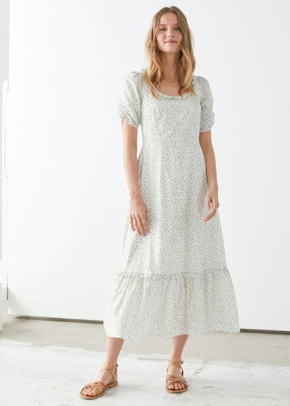 Puff Sleeve Scoop Neck Midi Dress