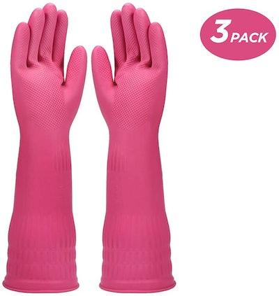 Rocod Rubber Dishwashing Gloves (3-Pack)