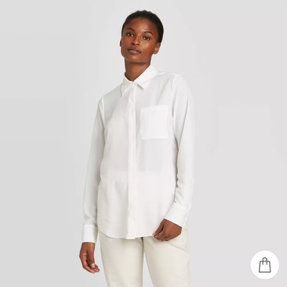 Prologue Long Sleeve Open-Front Button-Down Shirt
