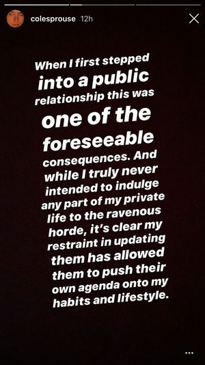 Cole Sprouse Instagram Statement
