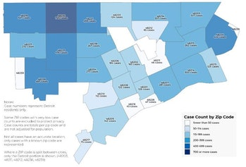 For comparison, a map put out by the Detroit Health Department examining the region by zip code.