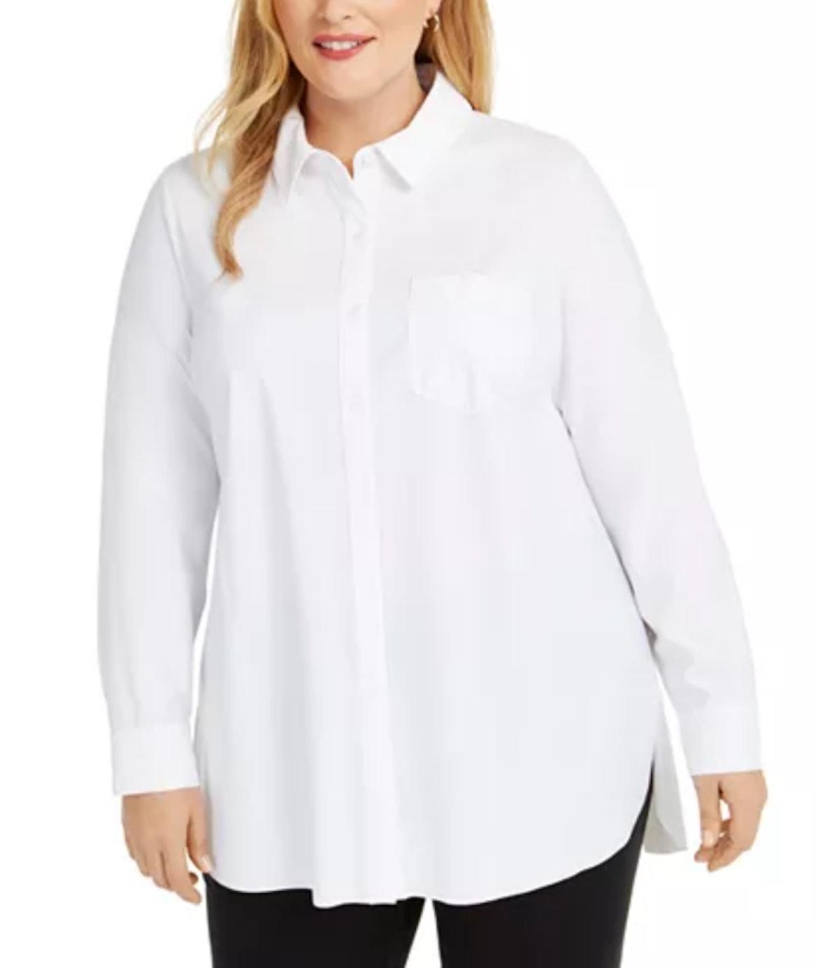 Alfani Plus Size Long-Sleeve Knit Button-Front Top
