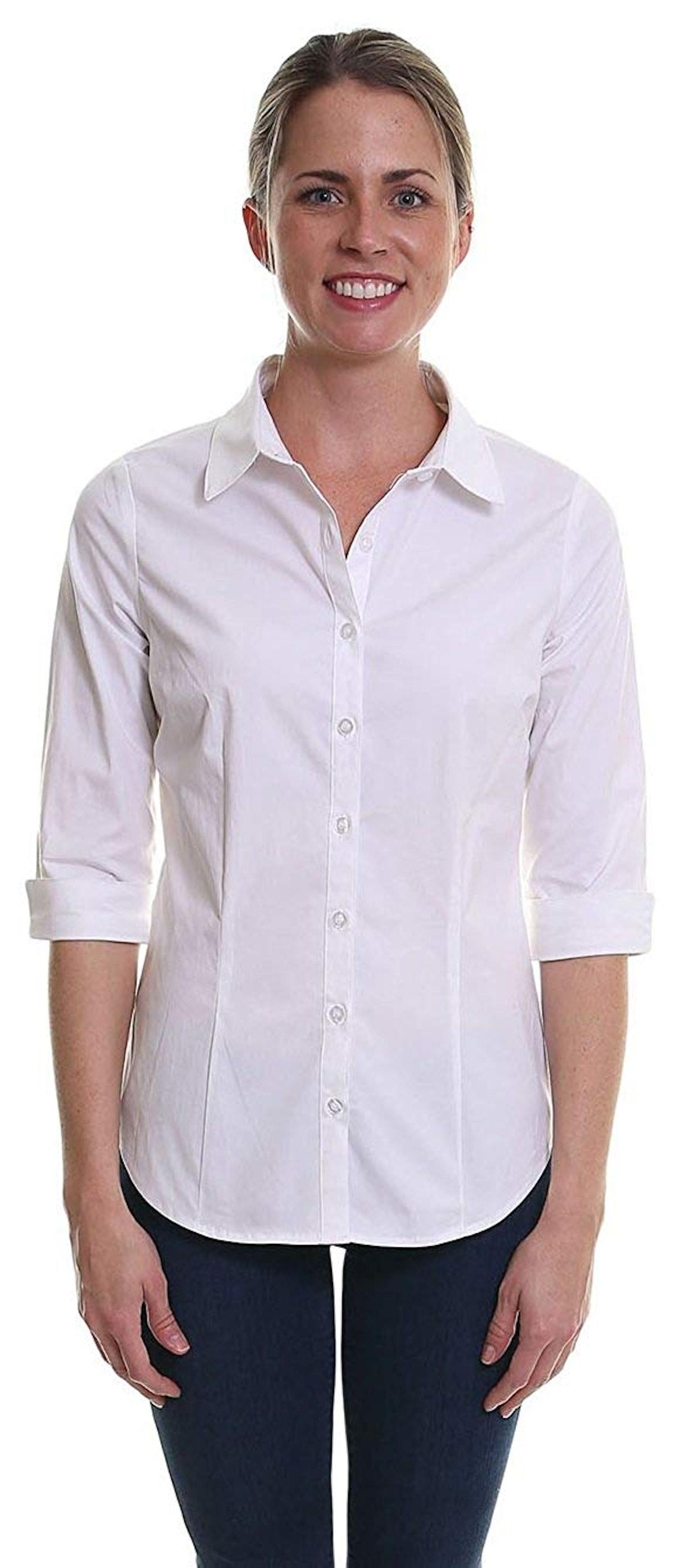 Pier 17 Women's Button Down Shirts Tailored 3/4 Sleeve Shirt