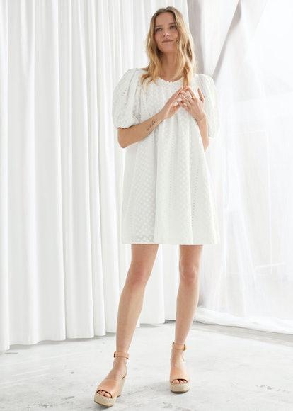 Voluminous Floral Smock Mini Dress