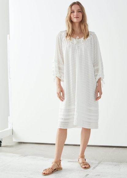 Oversized V-Neck Ruffle Midi Dress