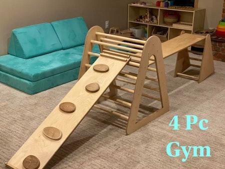 5 Pcs Gym - Climber - Bridge - Fort - Montessori Toy - Pikler- Open Ended Play - Parkour Gym