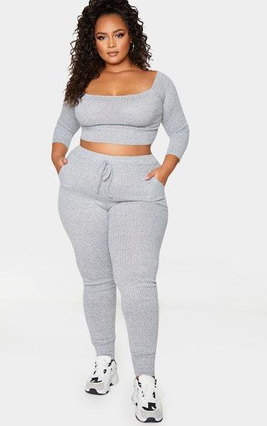 PrettyLittleThing Plus Grey Marl Bardot Knit Set