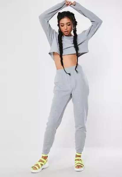 Missguided Gray Marl Cropped Sweater Joggers Co Ord Set