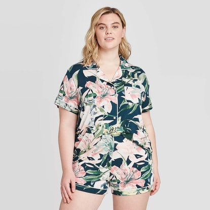 Stars Above Women's Plus Size Floral Print Beautifully Soft Short Sleeve Notch Collar and Short Pajama Set