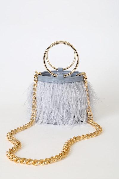 Lulu's Evening Attire Slate Blue Feather Bucket Bag