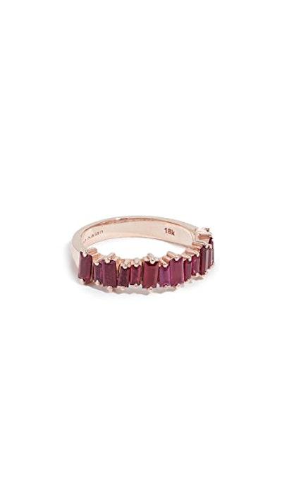 18k Rose Gold Halfway Ruby Ring