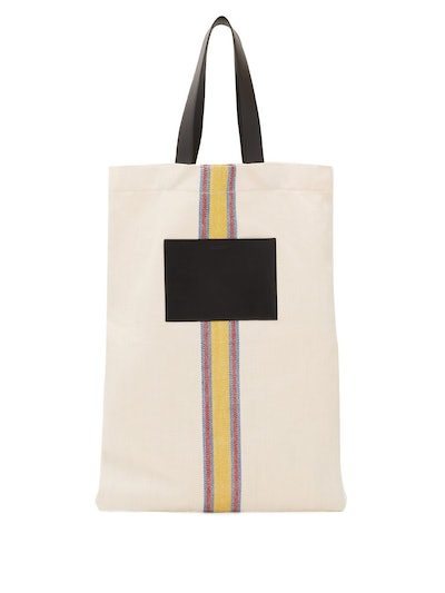 Jil Sander Striped Linen-Canvas and Leeather Tote Bag