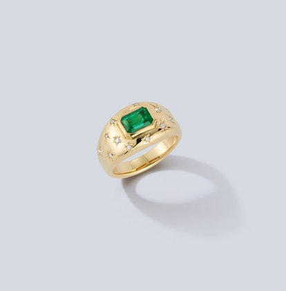 Anniversary Emerald and Diamond Gypsy Ring