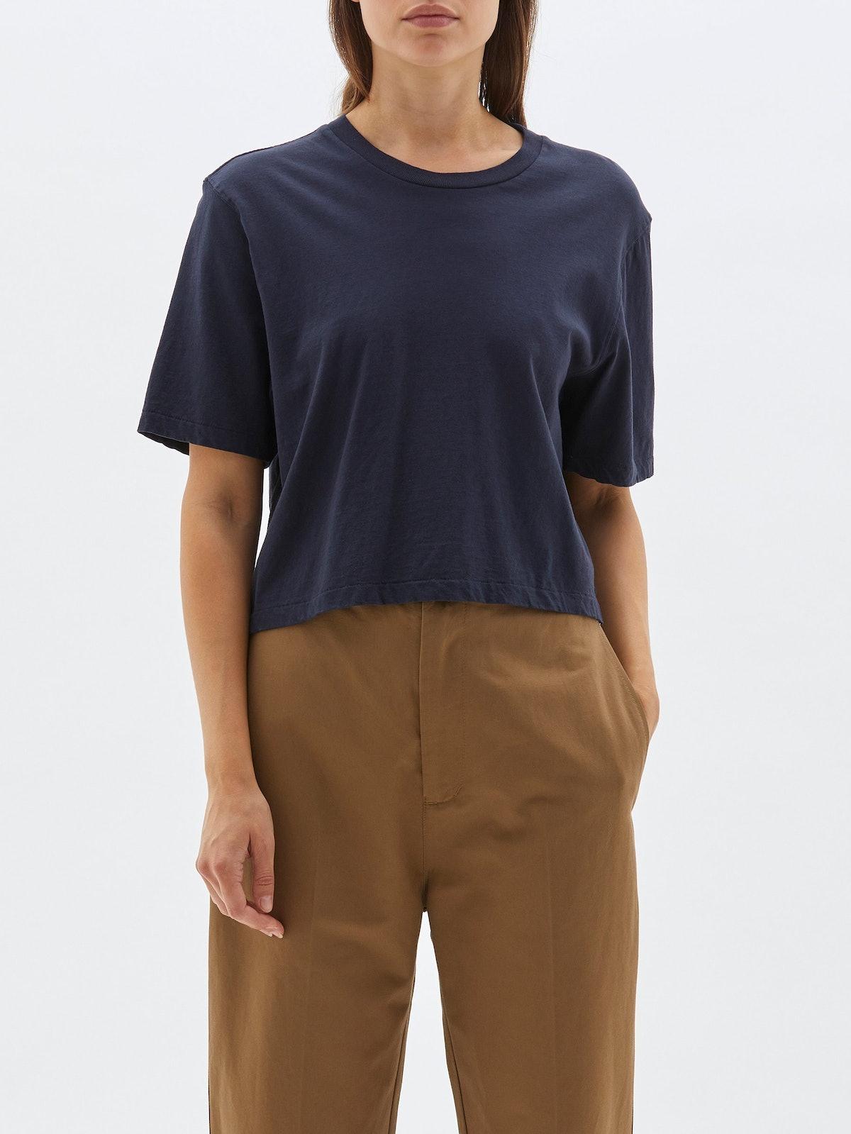 Cropped Boxy Short Sleeve T-Shirt