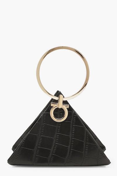 Boohoo Croc Triangle Ring Handle Clutch Bag