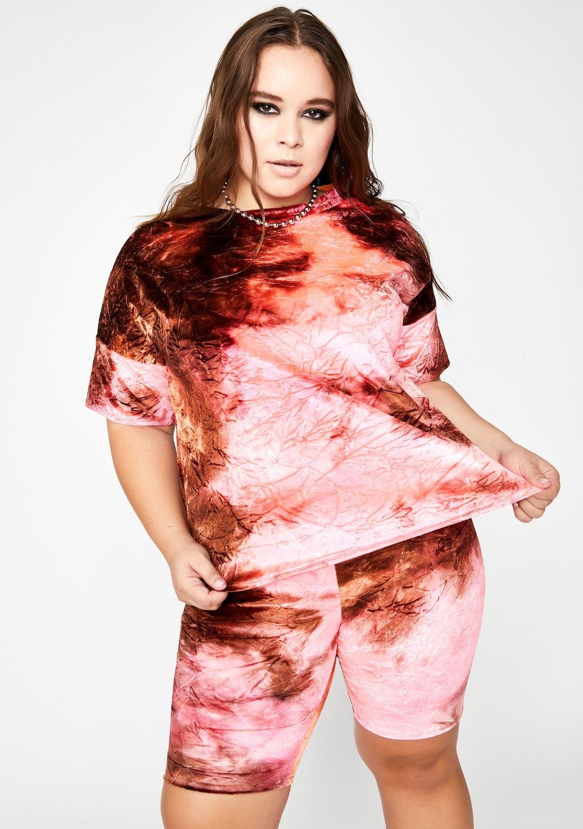 Dolls Kill Lit Fierce Firecracker Tie Dye Shorts Set
