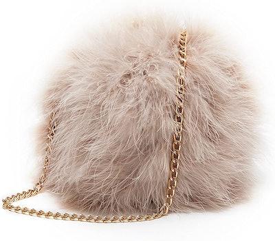 Flada Faux Fluffy Feather Round Clutch Shoulder Bag