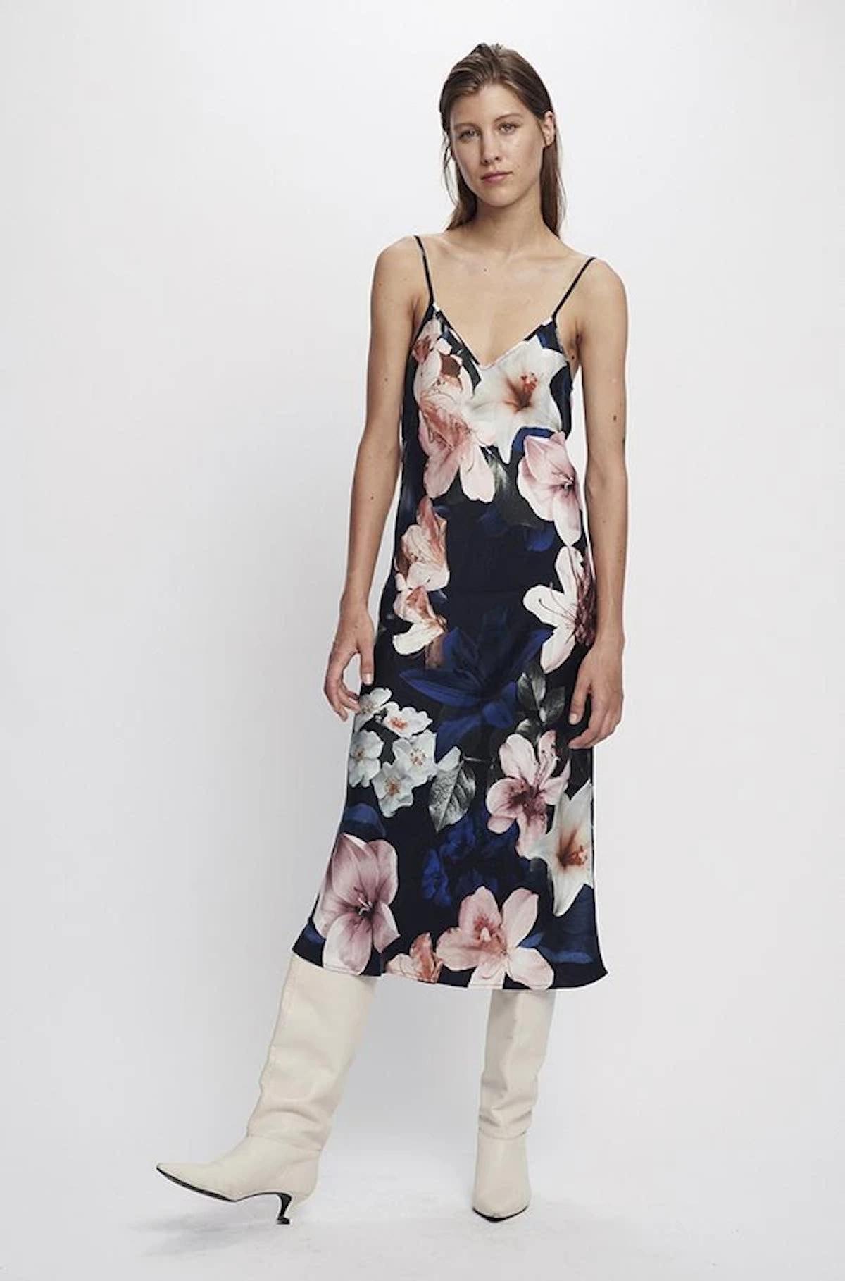 '90s Silk Slip Dress Lilies