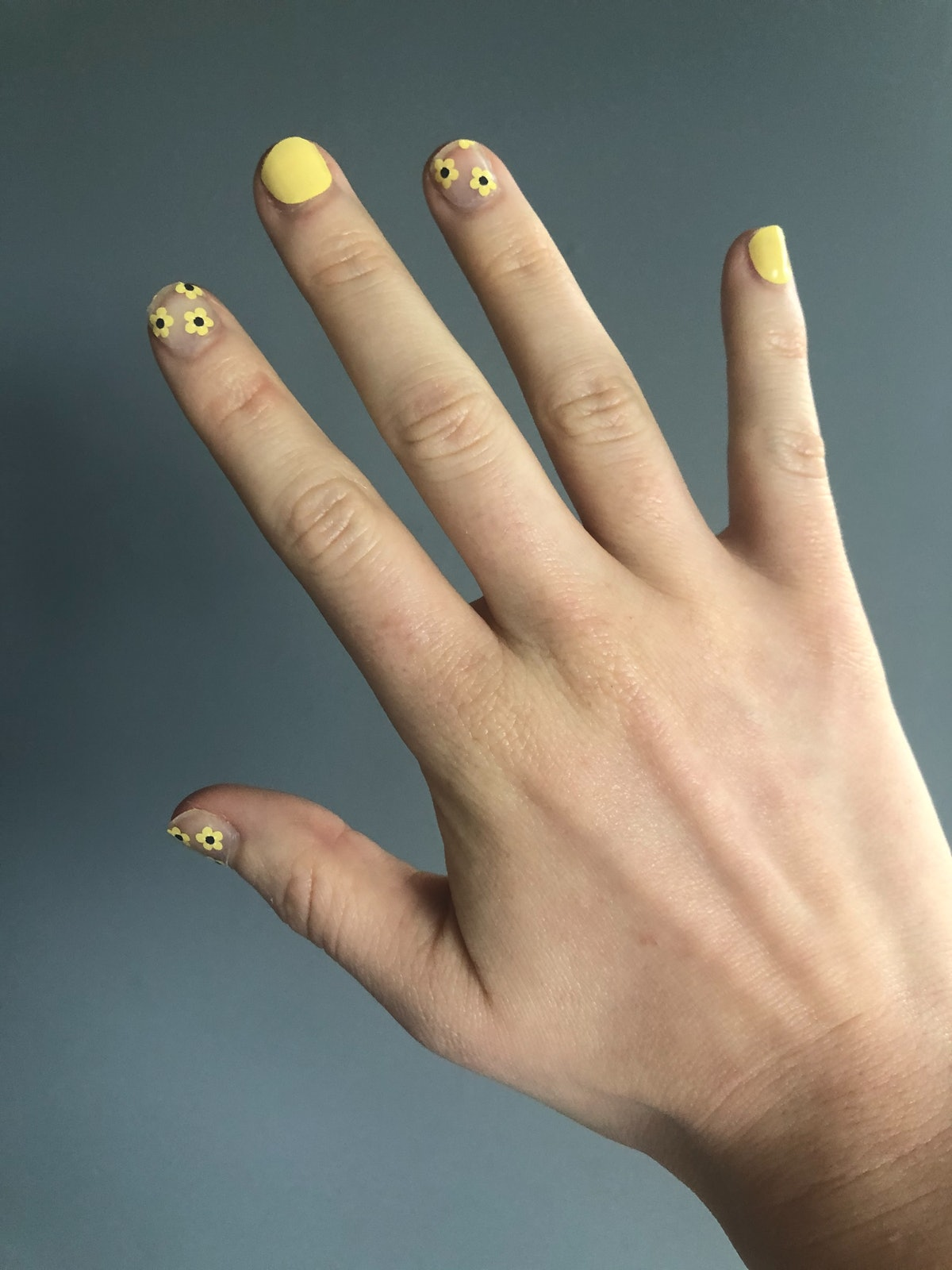 ManiMe's In The Air Spring Collection press-on polish in Not So Mellow Yellow
