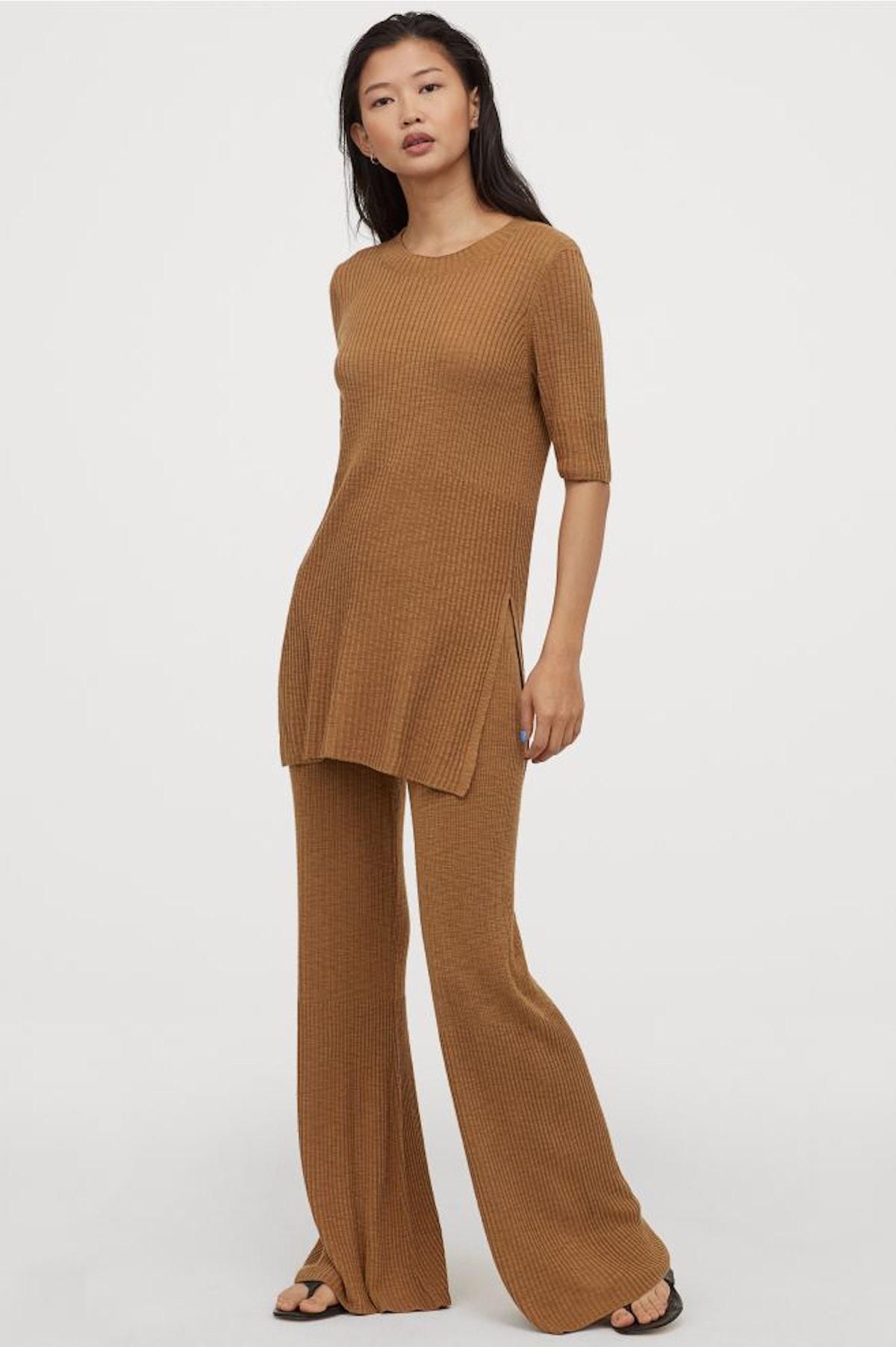 Rib-knit Pants