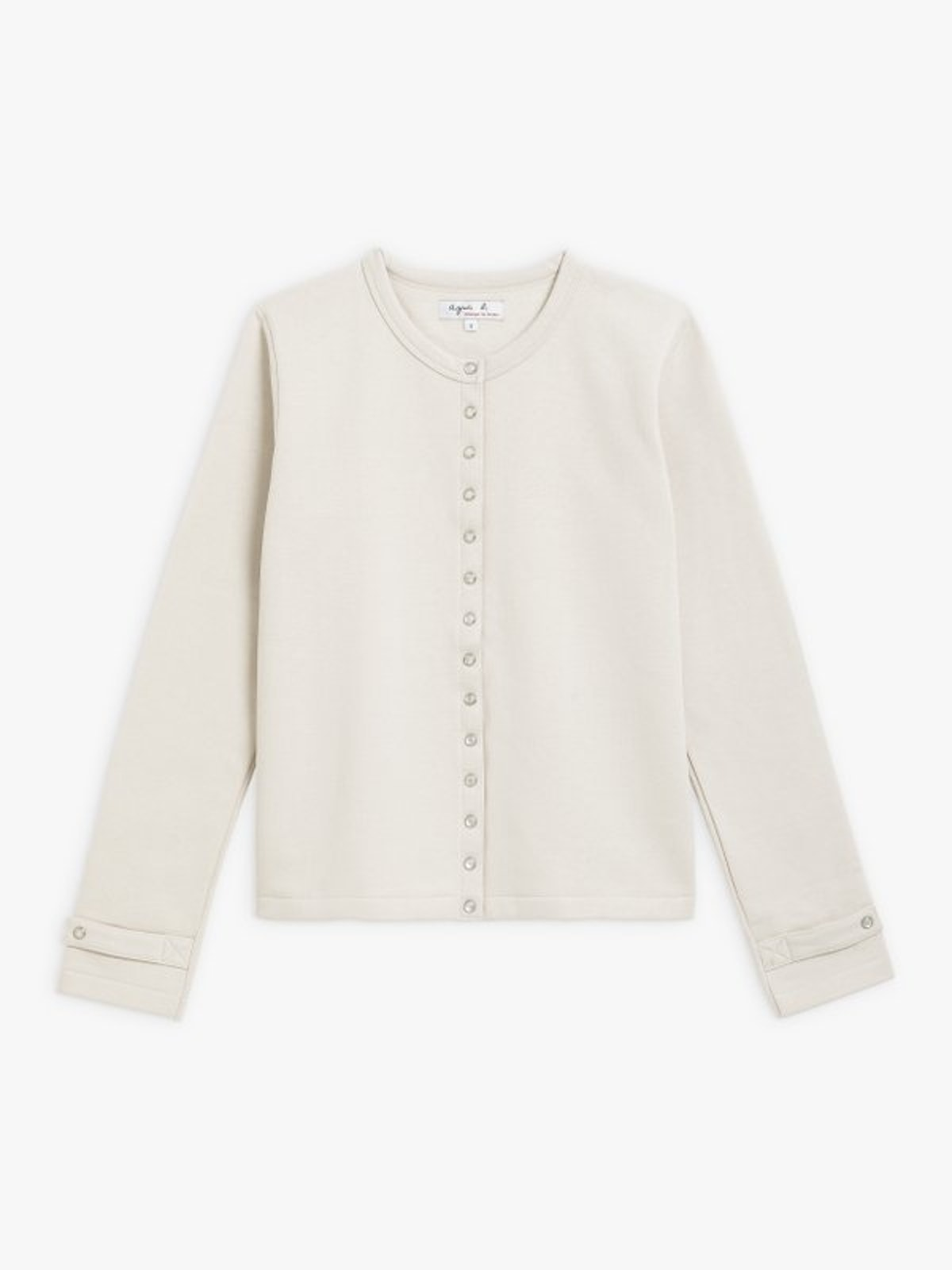 Light Beige Cotton Fleece Rosana Snap Cardigan