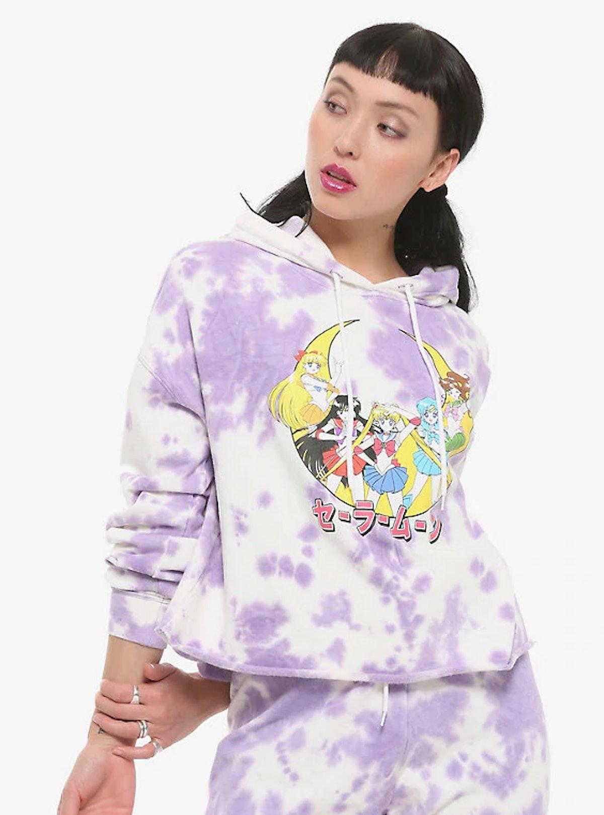Hot Topic Sailor Moon Raw-Edge Purple Tie Dye Girls Hoodie