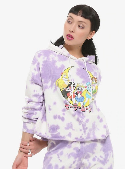 Hot Topic Sailor Moon Raw-Edge Purple Tie Dye Girls Hoodie