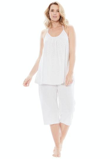 Dreams & Co. Women's Plus Size Breezy Eyelet Knit Tank & Capri PJ Set