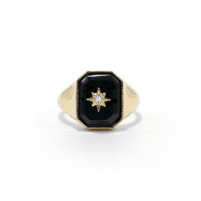 Onyx Diamond Star Signet Ring