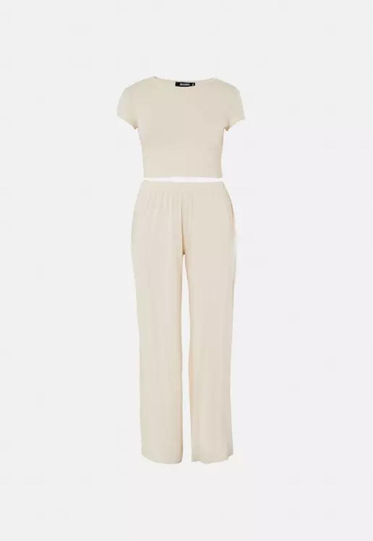 Missguided Tall Beige Crop Top And Wide Leg Pants Pyjama Set