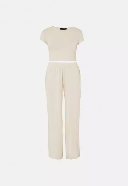 Missguided Tall Beige Crop Top And Wide Leg Pants Pyjama Set