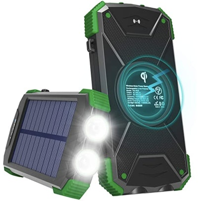 Solar Charger with Qi Wireless Charging,
