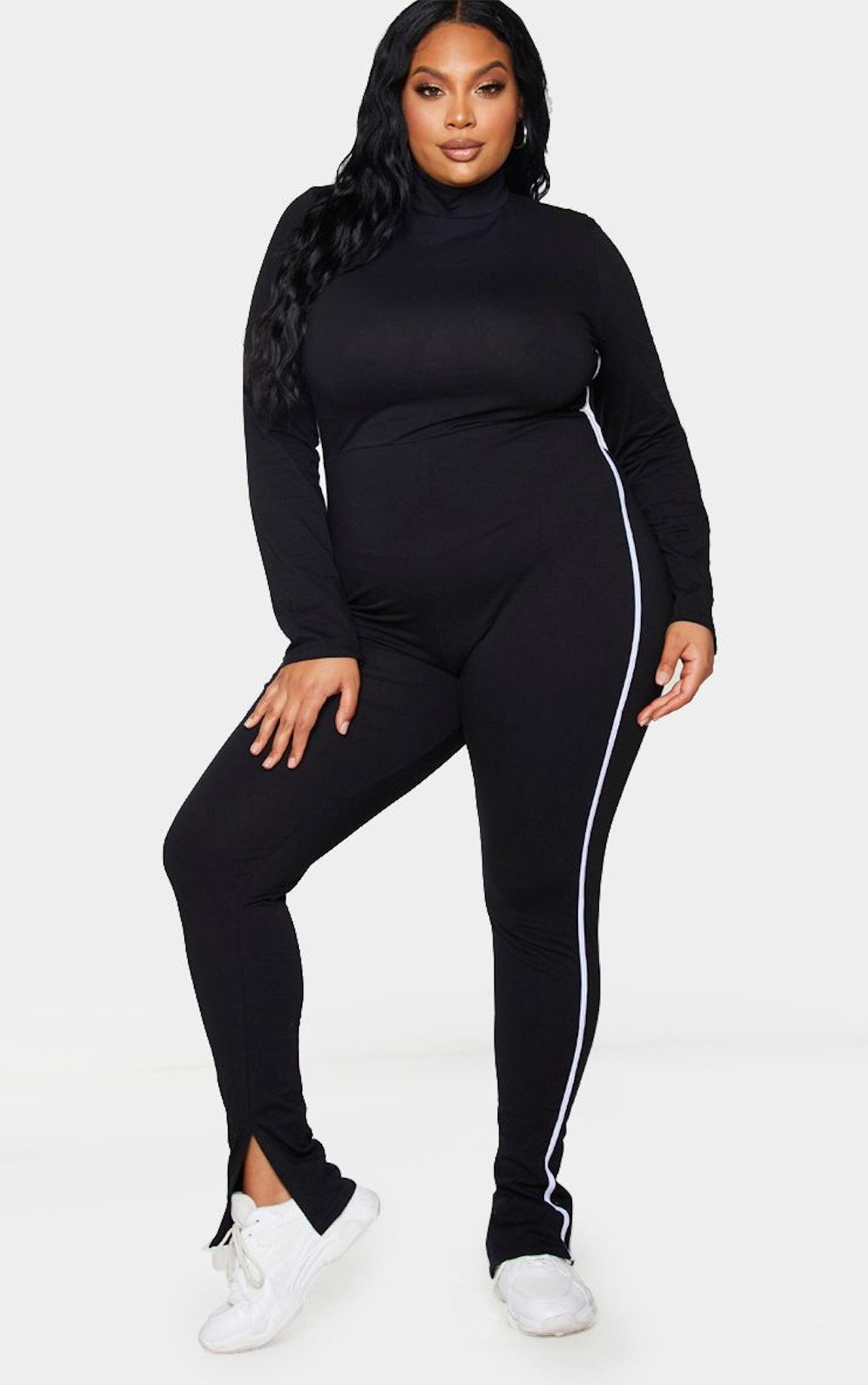 PrettyLittleThing Plus Black Sports Stripe High Neck Jumpsuit