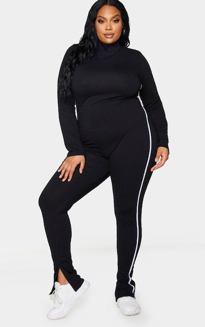 PrettyLittleThing Plus Black Sports Stripe High Neck Jumpsuit