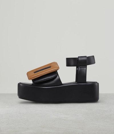 Puffy Sandal Platform Ankle Strap Two-Tone Black