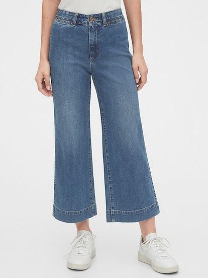 High Rise Wide Leg Crop Pants