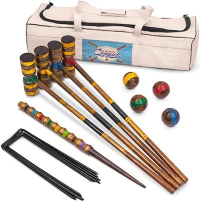 Crown Sporting Goods Vintage Wood Premium Croquet Set (4-Player)