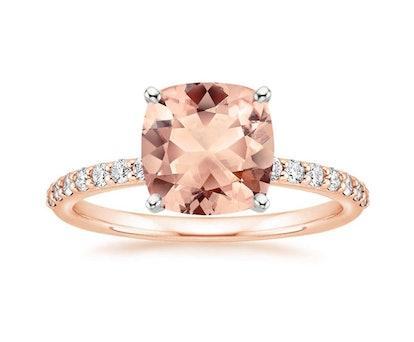 Morganite Petite Shared Prong Diamond Ring