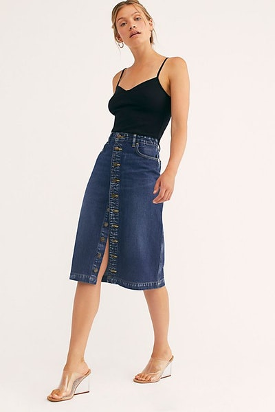 Lee High-Rise A-Line Midi Skirt