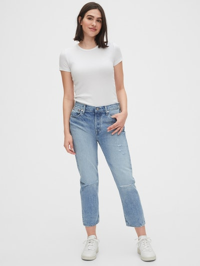 Gap Mid Rise Destructed Boyfriend Jeans