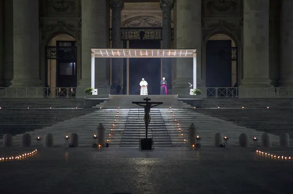 Pope Francis presides over Good Friday service at an empty St. Peter's Square during the coronavirus pandemic, Vatican City, April 10, 2020.