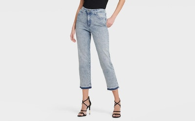 DKNY High Rise Straight Crop Fray Hem Jean