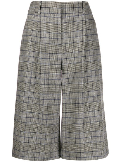 High-Rise Checked Culottes